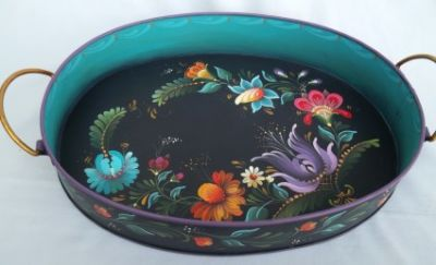KIEV OVAL TRAY w/HANDLES  E-PACKET