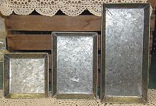 TRAYS - SQUARE AND RECTANGLE FOLK ART TIN