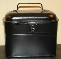 LUNCH PAIL ANTIQUE  W/ STRAIGHT HANDLES  FOLK ART TIN