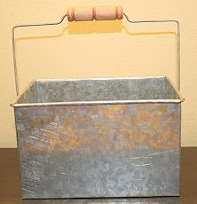 RECTANGLE BASKET WITH HANDLE FOLK ART TIN