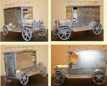 FOLK ART TIN LIZZIE'S - MERCANTILE VAN WITH RACK