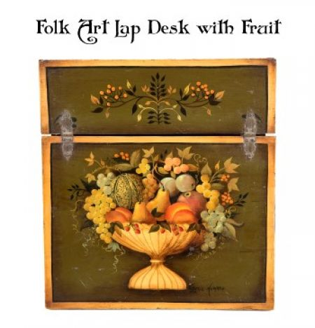 FOLK ART LAP DESK w/ FRUIT  PATTERN PACKET