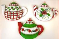 ROBIN MANI  CHRISTMAS TEAPOT TIN ORNAMENTS   PATTERN PACKETS