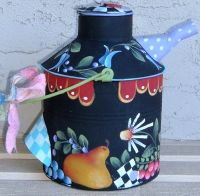 SHARA REINER PATTERN & OIL CAN  FOLK ART TIN
