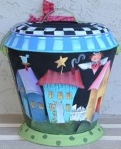 SHARA REINER PATTERN & COAL BUCKET  FOLK ART TIN