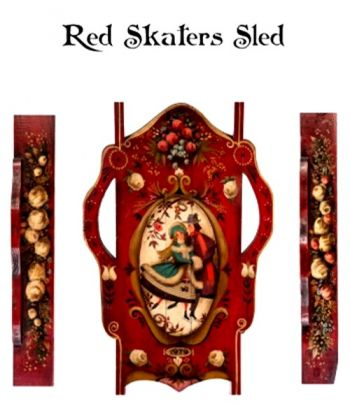 RED SKATERS SLED - SMALL  WOOD